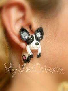 Fake ear gauges    Little cute little dog by RybaColnce on Etsy, $30.00