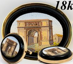 Antique Grand Tour Souvenir, Roman Ruins Micromosaic in 18k French Gold Brooch Frame - Micro mosaic