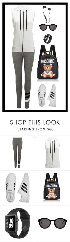"""""""Untitled #1992"""" by ebramos ❤ liked on Polyvore featuring Sundry, Beyond Yoga, adidas, Moschino, Thierry Lasry and Skullcandy"""