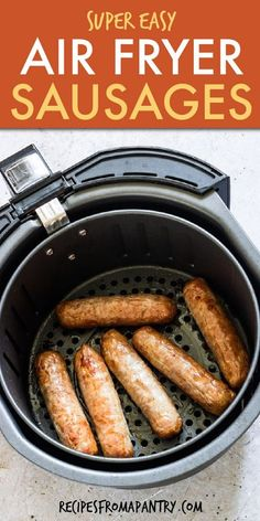 You've landed on the most delicious and simple air fryer sausages recipe you can find! If you've been thinking about cooking sausage in the air fryer, this is going to be your go-to recipe. These air fryer sausages are great for breakfast, lunch, snacks and quick and easy enough to include in your meal prep solutions. Click through to get this awesome recipe for air fryer sausages!! #airfryer #airfryerrecipes #airfryersausages #airfriedsausages #sausage #italiansausage #breakfastrecipes Air Fryer Recipes Vegan, Air Fryer Dinner Recipes, Air Fryer Healthy, Breakfast Sausage Links, Egg Recipes For Breakfast, Easy Potluck Recipes, Easy Meals, Oven Recipes, Grilling Recipes