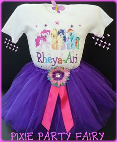 My  little pony  tutu t-shirt personalized add name size 3t 4t 5t 6 7 8  birthday party outfit - favor boutique