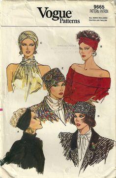 Vogue 9665 Vintage Greta Garbo Style Head Wrap Turban Hat Sewing Pattern Hollywood Glam