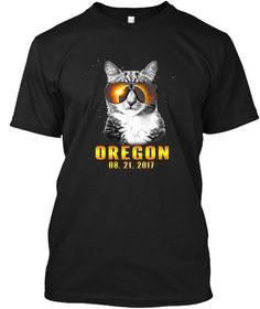Cat Total Solar Eclipse South Oregon Black T-Shirt Front