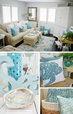 "Decorating with aqua & white for a casual coastal look is easy and affordable with lots of accessories from @homegoods like pillows, lanterns (perfect year round!) and the pretty ocean colored ""Sea"" that doubles as wall art too. sponsored pin."