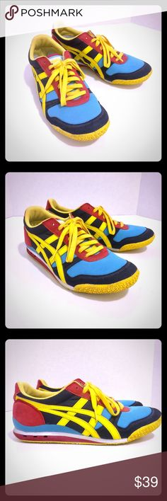 Asics Tiger Onitsuka Men's Asics size 8 in blue, yellow and red. Onitsuka Tiger by Asics Shoes Sneakers