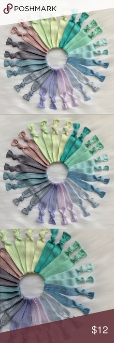 """26 elastic hair ties Set of 26 assorted fold over hair elastic. These hair ties do not pull or break your hair like a traditional rubber band pony tail holders. They also look great on your wrist as bracelets add a little color to your outfit! All hair ties are hand-made from the highest elastic quality, the ends have been heated sealed to prevent fraying .  Size 5/8"""" width  Fold over hair elastic Ships within 2 business days You will receive 2 of every color  (total 26 Hair Ties)…"""