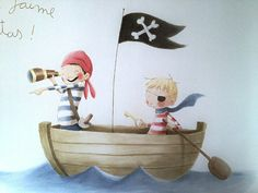 Rocio Bonilla Drawing For Kids, Painting For Kids, Art For Kids, Pirate Illustration, Watercolor Illustration, Boys Bedroom Paint, The Pirates, Kids Room Murals, Baby Art