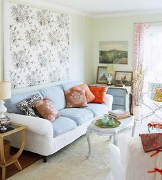 maybe have sofa cushions in a different coordinating color to mix things up?  like the pastels.