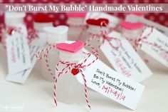 """Easy & Cute """"Don't Burst My Bubble"""" Valentine Crafts- full tutorial, and free (30 tags to one sheet) download."""