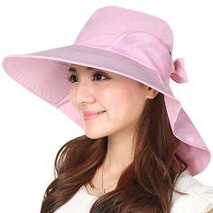 a8b99a17b09ac9 JOYEBUY Women Wide Brim Sun Hats UV Protection Summer Beach Visor Cap (B-Pink)  at Amazon Women's Clothing store:
