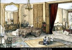 Drawing Room Interior, 1853 - Heloine Stromeyer - www.romanticism-in-art.org