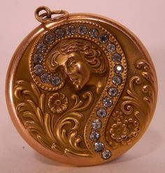 Antique Art Nouveau Gibson Girl Gold Plated Rhinestone Repousse Large Locket