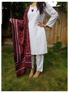 indian suit salwar kameez pakistani clothes indian dress anarkali lehnga saari pakistani dress shalwar kameez salwar suit tunic ajrak #pakistani #dress #design #salwar #kameez #pakistan #pakistanidressdesignsalwarkameezpakistan DESIGNER inspired dress 3 pc dress Chiken embroidered kameez/shirt with pom pom details Traditional Ajrak shawl dori pipin on kameez Plain cigarette TROUSERS MATERIAL: chiken small- chest 36 inches medium chest 40 inches large chest 44 inches xlarge chest 48 inches… Pakistani Dresses Shalwar Kameez, Salwar Kameez Simple, Simple Pakistani Dresses, Salwar Dress, Pakistani Fashion Casual, Pakistani Dress Design, Pakistani Outfits, Indian Dresses, Anarkali