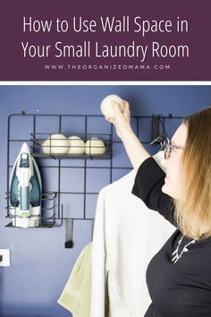 Limited on storage space in your laundry room? Need to tame the clutter? Learn effective ways to utilize wall space in small laundry rooms. Small Laundry Rooms, Small Rooms, Laundry Room Organization, Organizing, Iron Holder, Metal Grid, Room Makeovers, Laundry Hacks, Small Shelves