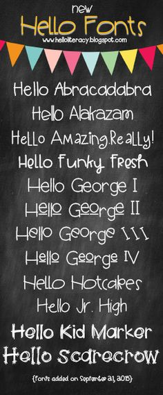 Hello Literacy: Five for Friday - Trackout, Classroom Photos, QR Codes for Teachers, A Podcast and 12 New Hello Fonts