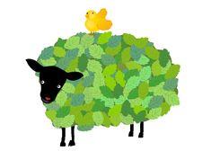 sheep//年賀状 羊のイラスト 森ひつじ 冬のイラスト素材 無料テンプレート
