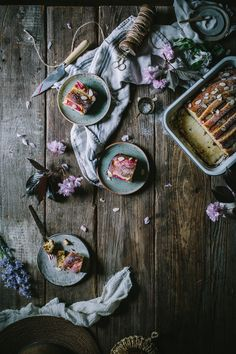 Food Photography: Rhubarb Cake by Eva Kosmas Flores. Adventures in Cooking. Dark Food Photography, Rhubarb Cake, Think Food, Delicious Cake Recipes, Almond Cakes, Belle Photo, Food Art, Food Food, Food Pictures