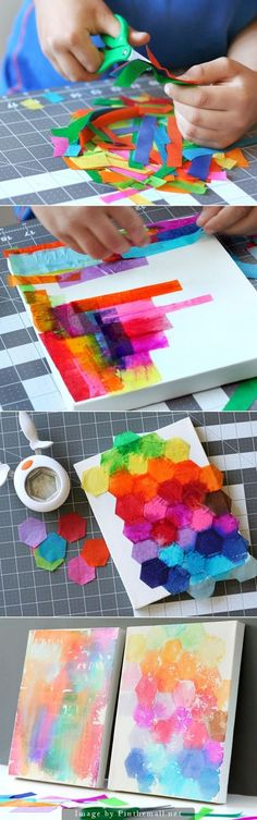 """Bleeding Tissue Paper Art - """"Painting"""" with tissue paper is not only fun but beautiful! This craft requires bleeding art tissue instead of regular wrapping tissue. This specialty tissue can be found in craft stores. Easy Arts And Crafts, Fun Crafts, Diy And Crafts, Room Crafts, Recycled Crafts, Diy For Kids, Crafts For Kids, Toddler Crafts, Tissue Paper Crafts"""