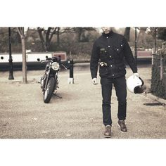 Barbour International jacket and Red Wing boots - cafe racer essentials!