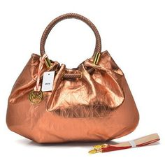 Michael Kors Drawstring Bags Ring Hobo Metallic Leather Large Bronze