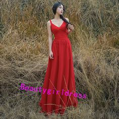 Bg147 Charming Prom Dress,Chiffon Prom Dress,Red Prom Dresses,Backless Prom Dresses,Sexy Prom Dress,V Neck Prom Gown,Prom Dress 2016