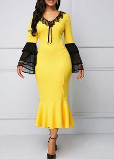 Lace Panel Yellow Layered Bell Sleeve Mermaid Dress Mermaid Dresses 822a327b069d