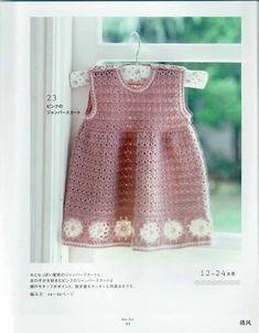 Pink Baby Dress with White Flowers free crochet graph pattern by esmeralda Crochet Toddler, Baby Girl Crochet, Newborn Crochet, Cute Dresses, Girls Dresses, Baby Dresses, White Baby Dress, Baby Sweaters, Beautiful Crochet
