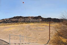 """""""Water-Flow Monitoring Station on the Rio Grande Near Presidio, Texas, Part Three, Facing South, The Flood-Plain From West of the Gauge Shelter, 4 PM,"""" Rackstraw Downes, 2002-2003, oil on canvas, Farnsworth Art Museum."""