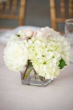 Square centerpiece with hydrangea and roses