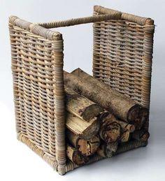 Ratanový koš na dřevo nízký,rustikální šedivý ratan
