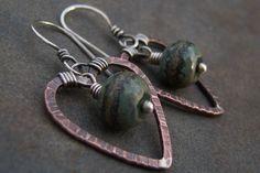 Sale-Copper Sterling Silver Rustic Dangle Hoop Lampwork Bead Heart Earrings-Artisan Handmade Earrings.