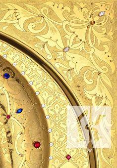 Water gilding work by Kotridis Kyrgiakos GREECE Byzantine Icons, Art Decor, Decoration, Gold Gilding, Leaf Design, Gold Leaf, Flourish, Stained Glass, Stencils