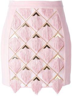 BALMAIN Tassel Panel Skirt. #balmain #cloth #skirt