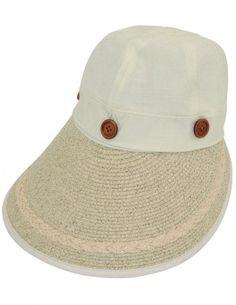 Dahlia Women's Summer Sun Hat - Two in One Wide Straw Brim Visor Cap