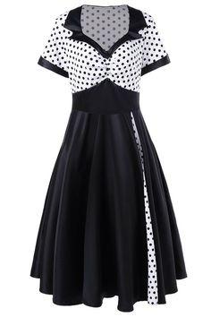 $23.45 Plus Size Polka Dot Panel Swing Dress - White And Black