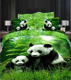 """The Panda, a """"national treasure"""" in China: New Arrival Cotton Panda Eating Green Tender Grass 4 Piece Bedding Sets/Duvet Cover Sets 3d Bedding Sets, Cute Bedding, Cotton Bedding Sets, Bedding Sets Online, Queen Bedding Sets, Bedding Decor, Room Decor, Comforter Sets, Animal Print Bedding"""