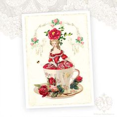 Marie Antoinette Greeting Card Vintage Teacup Red by mulberrymuse,