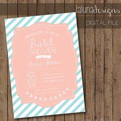 Striped / Vintage Bridal Shower Invite - Any color scheme