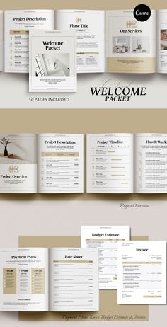 Client Welcome & Pricing Packet - 50 Pages in Canva Format, US Letter, and A4 Sizes. This template is ideal for creating client welcome packets, price lists, services & product guides, and project proposals. #canvatemplate #everythingelse #graphicdesign #ebooktemplate #welcomekit #welcomepacket #projectproposal Graphic Design Books, Graphic Design Templates, Print Templates, Book Design, Indesign Templates, Invoice Template, Planner Template, Table Of Contents Page, Survey Template