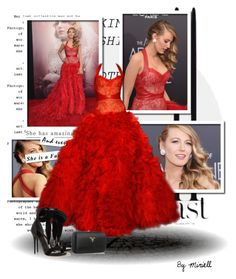 """""""Blake Lively #2"""" by pace21 ❤ liked on Polyvore featuring Monique Lhuillier, Prada and Alexander McQueen"""