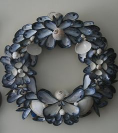 Coastal Shores Blue Mussell Shell Wreath Medium by nancylee97, $85.00