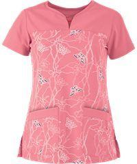 Grey's Anatomy Scrubs Signature Series Soleil Flamingo Print Top Style # GA2117SR Cute Scrubs Uniform, Scrubs Outfit, Scrubs Pattern, Greys Anatomy Scrubs, Medical Scrubs, 4 Way Stretch Fabric, Scrub Tops, Fashion Sewing, Womens Fashion For Work