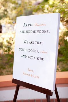 meaningful wedding ceremony sign, want this