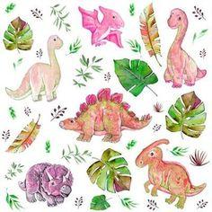 "8"" Retro Colors / Pink & Green Dinos by shopcabin Double Gauze Fabric, Cotton Twill Fabric, Minky Fabric, Dinosaur Fabric, Retro Color, Burp Cloths, Surface Design, Custom Fabric, Spoonflower"