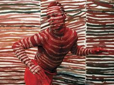 Photograph:Acclaimed Australian Aboriginal dancer Russell Page dances in front of one of Emily Kame Kngwarreye's paintings at an exhibition in Sydney in 1997. The exhibition represented Australia in that year's Venice Biennale.