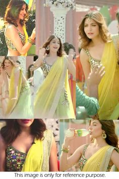 Bollywood Style Anushka Sharma Net and Velvet Lehenga In Yellow and Green Colour NC1423 Yellow and Green Colour Net and Velvet Fabric Designer Bollywood Lehenga Comes With Velvet Fabric Blouse Which C...