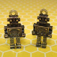 12 Rockem Sockem Robot Charms Antique Bronze 31512 by beadgiant