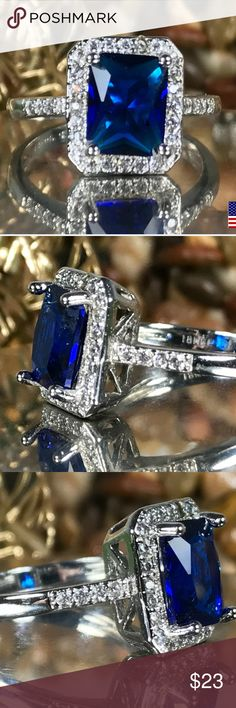 BEAUTIFUL SUPRINA NEW STUNNING SUPRINA SHE IS AAAA CLEAR BLUE AND WHITE CZ MAIN MEASURES APPROX 7MM X 10MM ITS SET IN HYPO ALLERGENIC METALS (18K WHITE GOLD, PLATINUM, COPPER, SILVER AND STAINLESS STEEL) PERFECT TO PLEASE ANY WOMAN SIZE 8 includes black velvet gift box Jewelry Rings