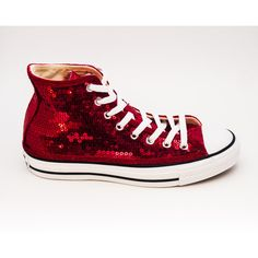 Sequin Hand Sparkled Red Converse Canvas Hi Top Sneakers Shoes ($130) ❤  liked on