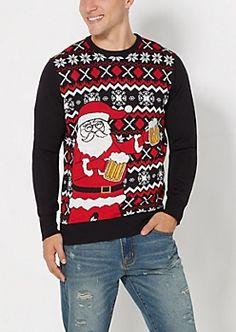 Santa Happy Hour Ugly Christmas Sweater